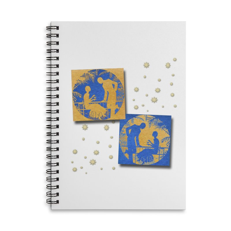 Shimmering Blue and Orange Pastel Silhouette Couple Under The Stars Accessories Lined Spiral Notebook by Maryheartworks's Artist Shop