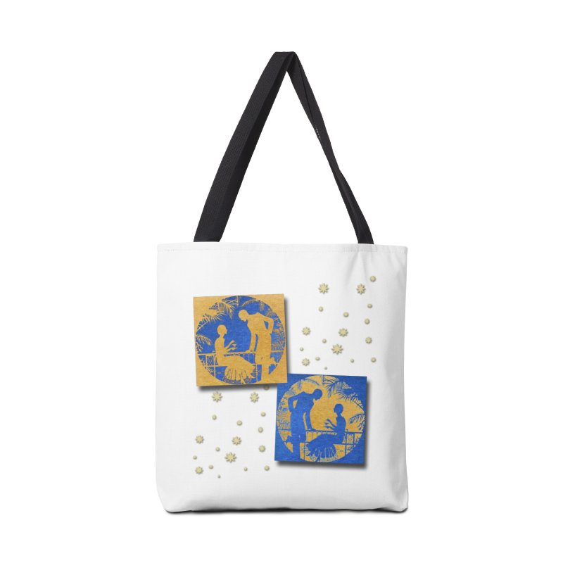 Shimmering Blue and Orange Pastel Silhouette Couple Under The Stars Accessories Tote Bag Bag by Maryheartworks's Artist Shop