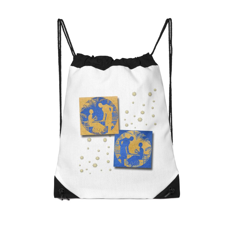 Shimmering Blue and Orange Pastel Silhouette Couple Under The Stars Accessories Drawstring Bag Bag by Maryheartworks's Artist Shop
