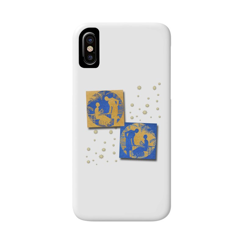 Shimmering Blue and Orange Pastel Silhouette Couple Under The Stars Accessories Phone Case by Maryheartworks's Artist Shop