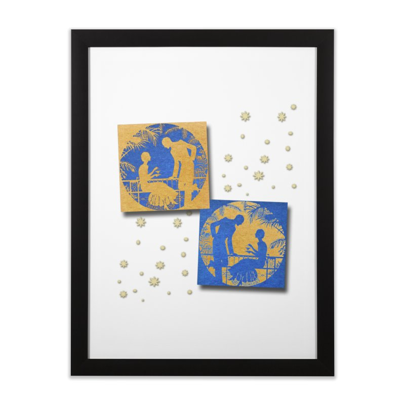 Shimmering Blue and Orange Pastel Silhouette Couple Under The Stars Home Framed Fine Art Print by Maryheartworks's Artist Shop