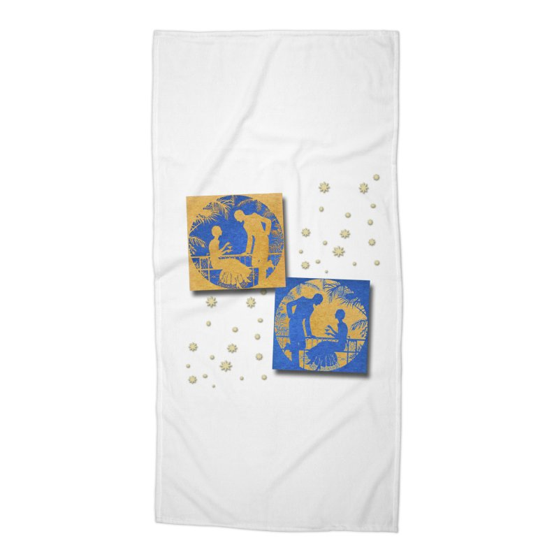 Shimmering Blue and Orange Pastel Silhouette Couple Under The Stars Accessories Beach Towel by Maryheartworks's Artist Shop