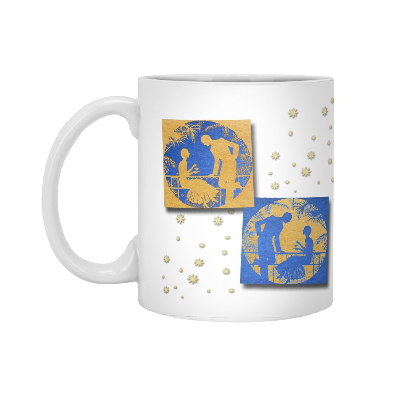 Shimmering Blue and Orange Pastel Silhouette Couple Under The Stars Accessories Standard Mug by Maryheartworks's Artist Shop