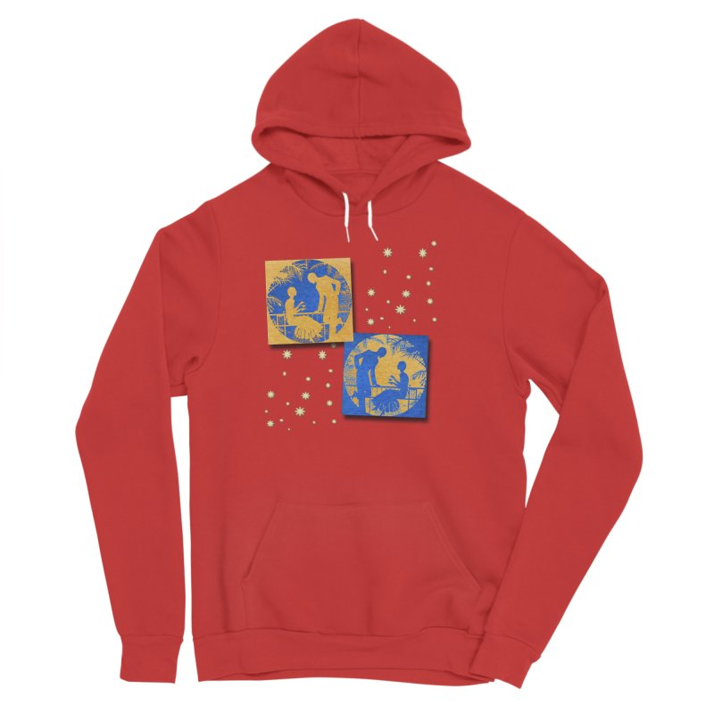 Shimmering Blue and Orange Pastel Silhouette Couple Under The Stars Men's Pullover Hoody by Maryheartworks's Artist Shop