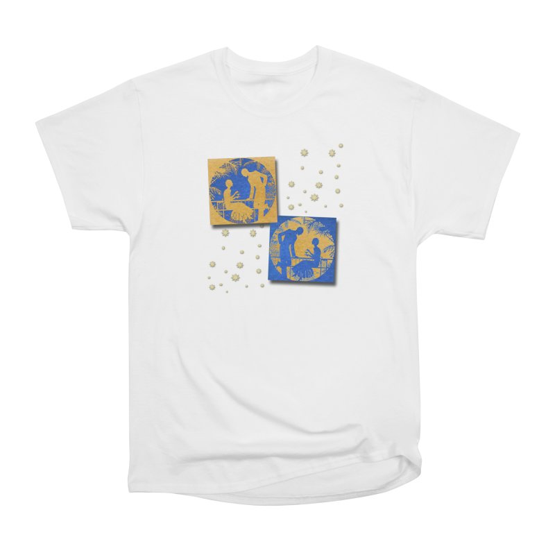 Shimmering Blue and Orange Pastel Silhouette Couple Under The Stars Women's T-Shirt by Maryheartworks's Artist Shop