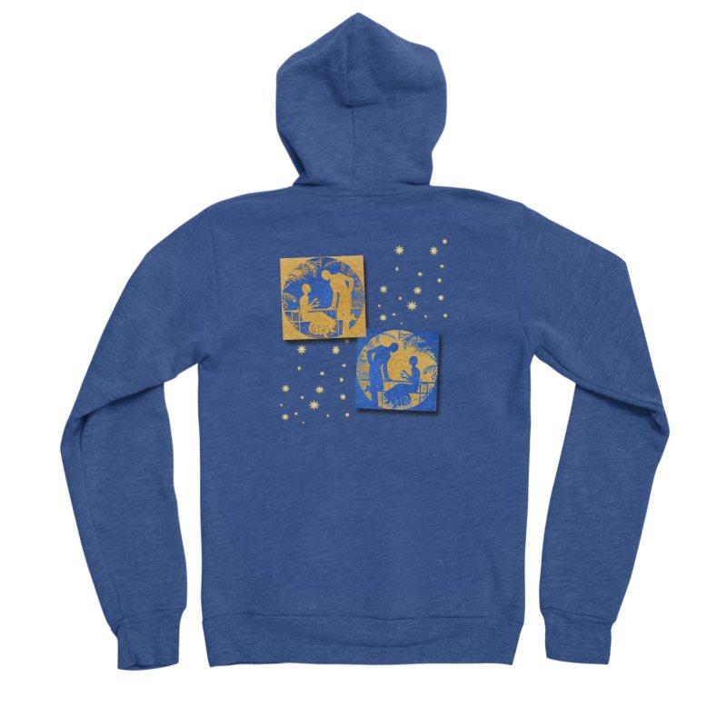 Shimmering Blue and Orange Pastel Silhouette Couple Under The Stars Men's Sponge Fleece Zip-Up Hoody by Maryheartworks's Artist Shop