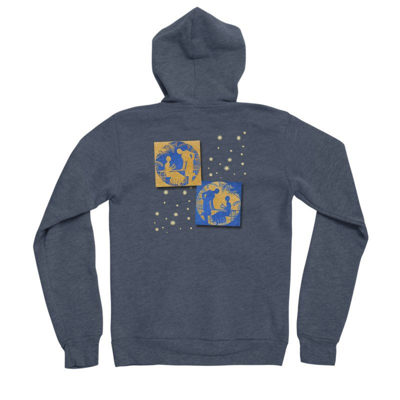 Shimmering Blue and Orange Pastel Silhouette Couple Under The Stars Women's Sponge Fleece Zip-Up Hoody by Maryheartworks's Artist Shop