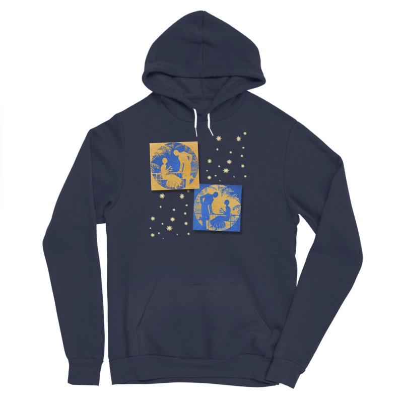 Shimmering Blue and Orange Pastel Silhouette Couple Under The Stars Women's Sponge Fleece Pullover Hoody by Maryheartworks's Artist Shop