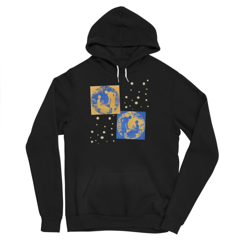 Shimmering Blue and Orange Pastel Silhouette Couple Under The Stars Men's Sponge Fleece Pullover Hoody by Maryheartworks's Artist Shop