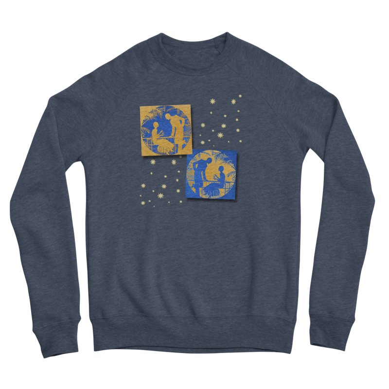 Shimmering Blue and Orange Pastel Silhouette Couple Under The Stars Men's Sponge Fleece Sweatshirt by Maryheartworks's Artist Shop