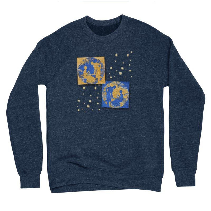 Shimmering Blue and Orange Pastel Silhouette Couple Under The Stars Men's Sponge Fleece Sweatshirt by Maryheartworks's Artist Shop