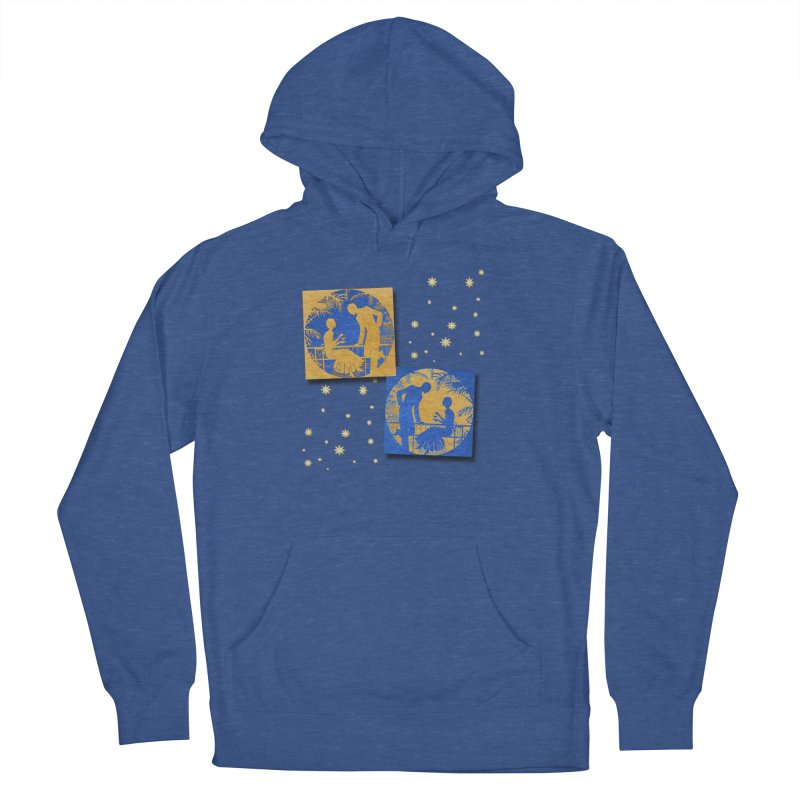 Shimmering Blue and Orange Pastel Silhouette Couple Under The Stars Women's French Terry Pullover Hoody by Maryheartworks's Artist Shop