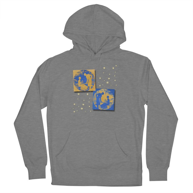 Shimmering Blue and Orange Pastel Silhouette Couple Under The Stars Women's Pullover Hoody by Maryheartworks's Artist Shop
