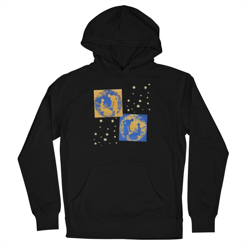 Shimmering Blue and Orange Pastel Silhouette Couple Under The Stars Men's French Terry Pullover Hoody by Maryheartworks's Artist Shop
