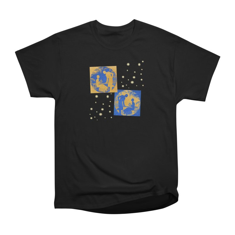 Shimmering Blue and Orange Pastel Silhouette Couple Under The Stars Women's Heavyweight Unisex T-Shirt by Maryheartworks's Artist Shop