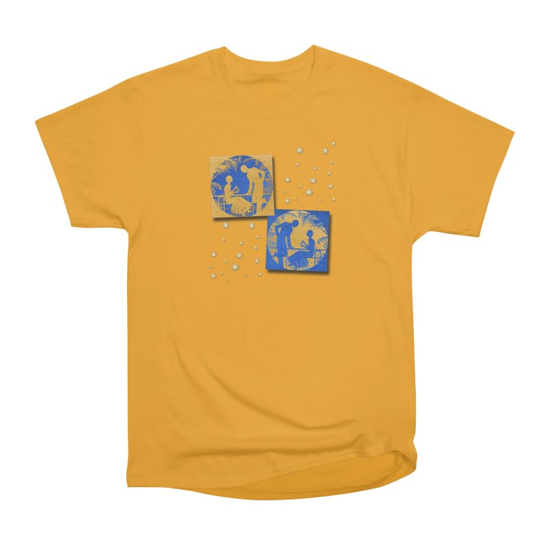Shimmering Blue and Orange Pastel Silhouette Couple Under The Stars Men's Heavyweight T-Shirt by Maryheartworks's Artist Shop
