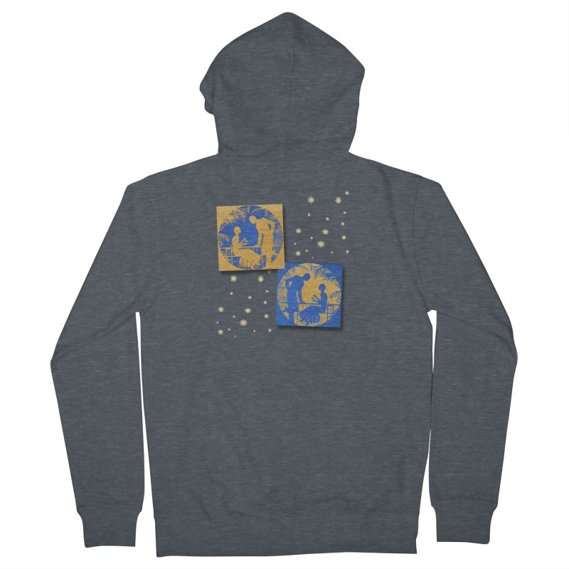 Shimmering Blue and Orange Pastel Silhouette Couple Under The Stars Women's French Terry Zip-Up Hoody by Maryheartworks's Artist Shop