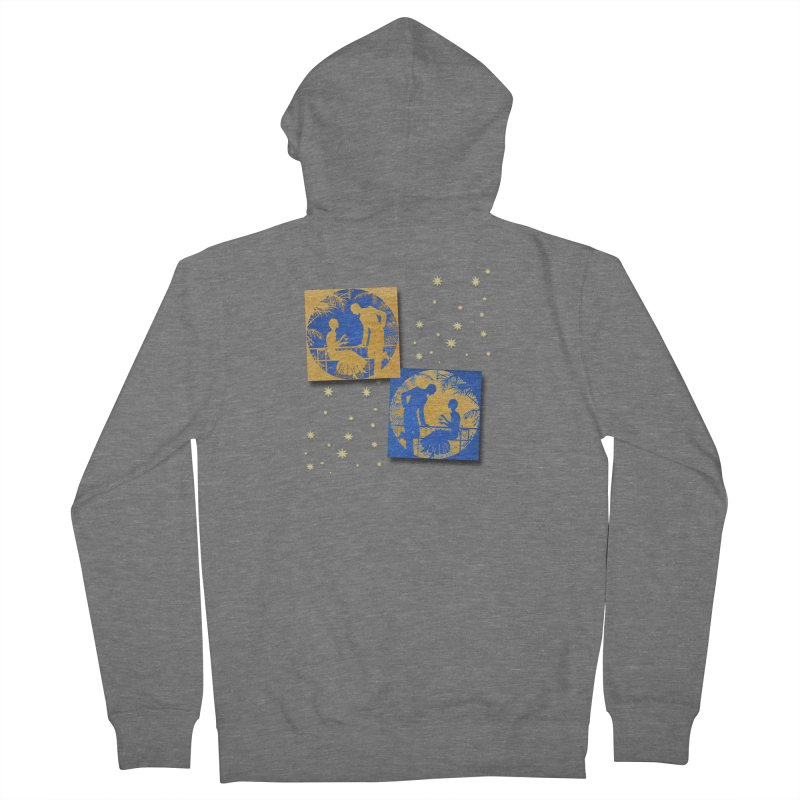 Shimmering Blue and Orange Pastel Silhouette Couple Under The Stars Men's French Terry Zip-Up Hoody by Maryheartworks's Artist Shop