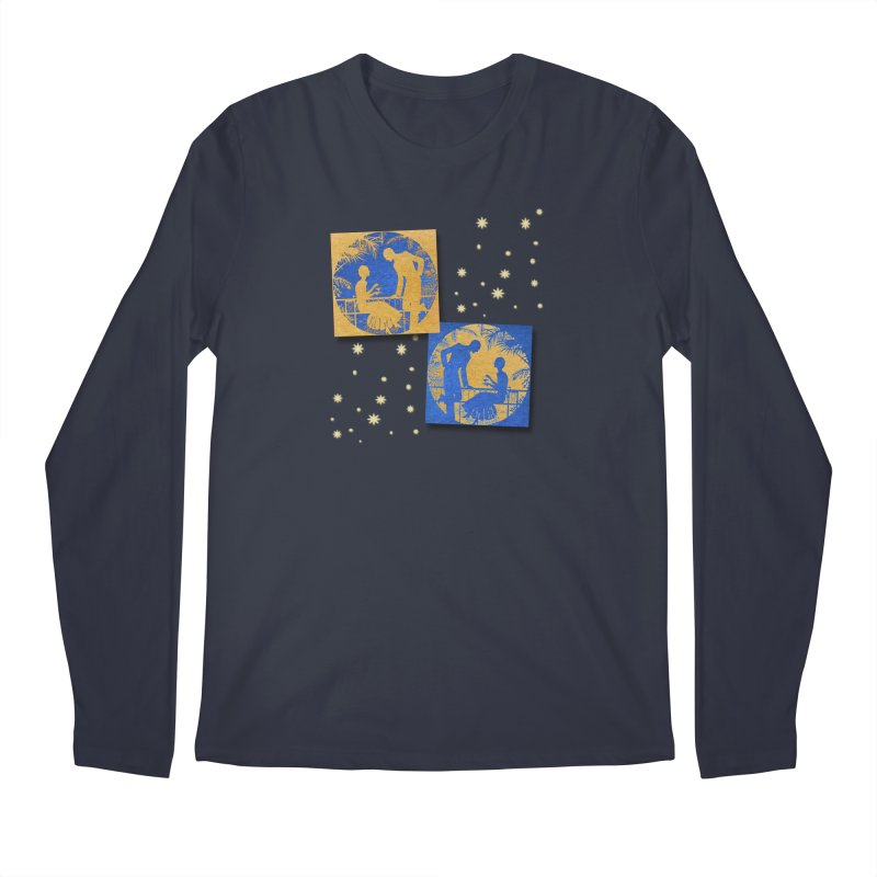 Shimmering Blue and Orange Pastel Silhouette Couple Under The Stars Men's Regular Longsleeve T-Shirt by Maryheartworks's Artist Shop
