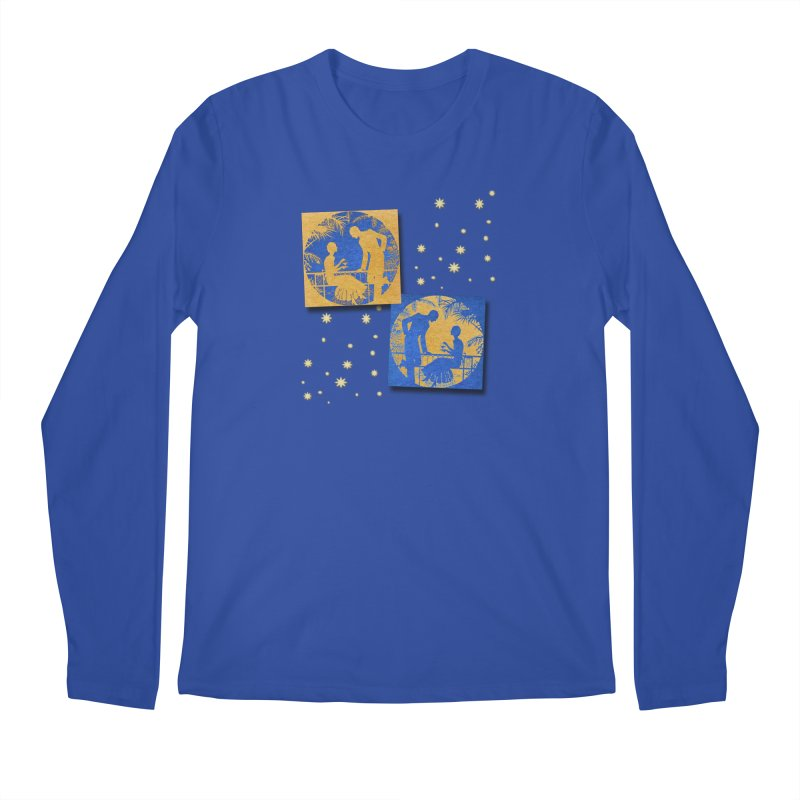 Shimmering Blue and Orange Pastel Silhouette Couple Under The Stars Men's Regular Longsleeve T-Shirt by Maryheartworks's Artist Shop