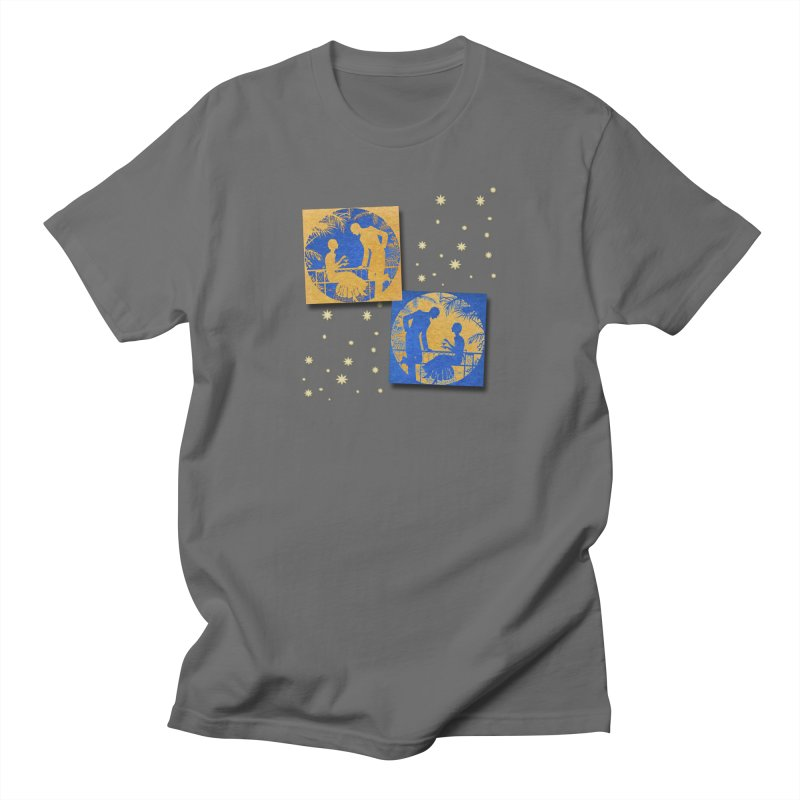 Shimmering Blue and Orange Pastel Silhouette Couple Under The Stars Men's T-Shirt by Maryheartworks's Artist Shop