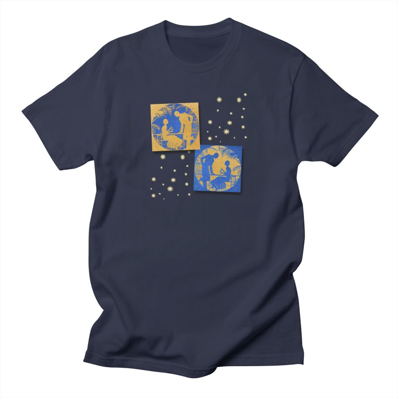 Shimmering Blue and Orange Pastel Silhouette Couple Under The Stars Women's Regular Unisex T-Shirt by Maryheartworks's Artist Shop