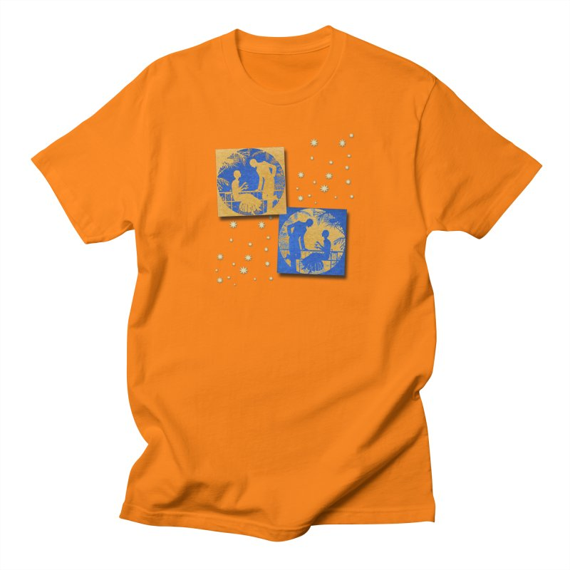 Shimmering Blue and Orange Pastel Silhouette Couple Under The Stars Men's Regular T-Shirt by Maryheartworks's Artist Shop