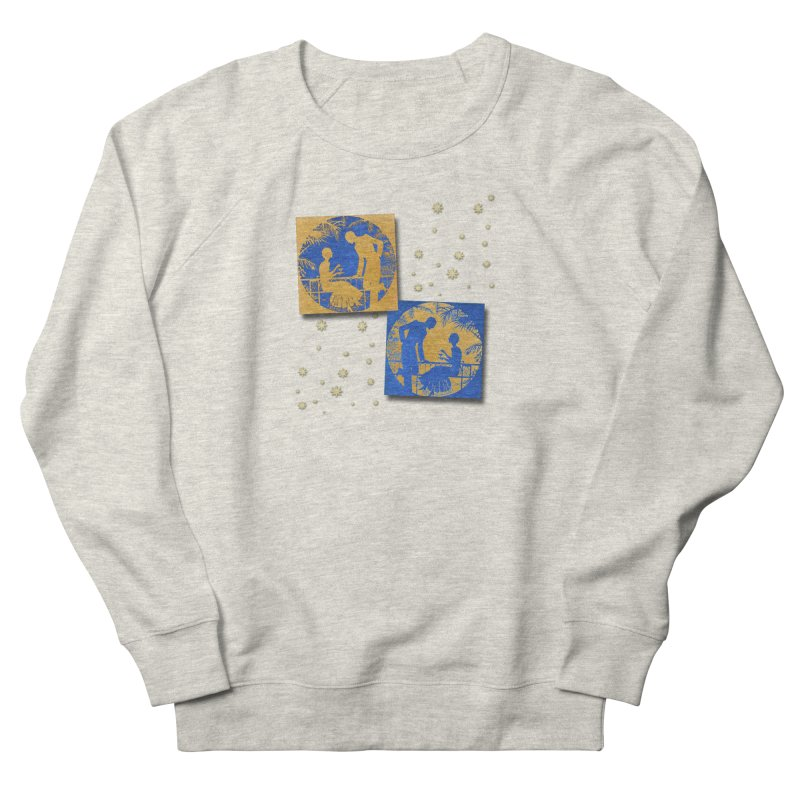 Shimmering Blue and Orange Pastel Silhouette Couple Under The Stars Women's French Terry Sweatshirt by Maryheartworks's Artist Shop