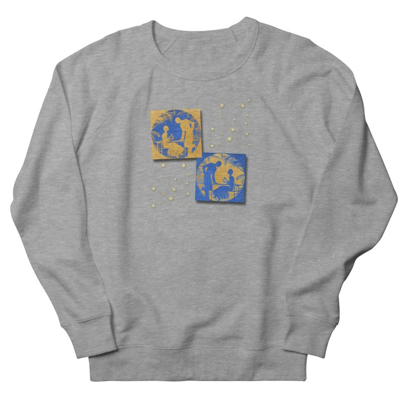 Shimmering Blue and Orange Pastel Silhouette Couple Under The Stars Men's French Terry Sweatshirt by Maryheartworks's Artist Shop