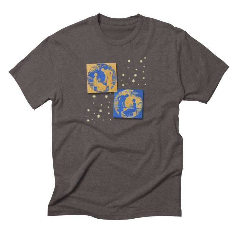 Shimmering Blue and Orange Pastel Silhouette Couple Under The Stars Men's Triblend T-Shirt by Maryheartworks's Artist Shop