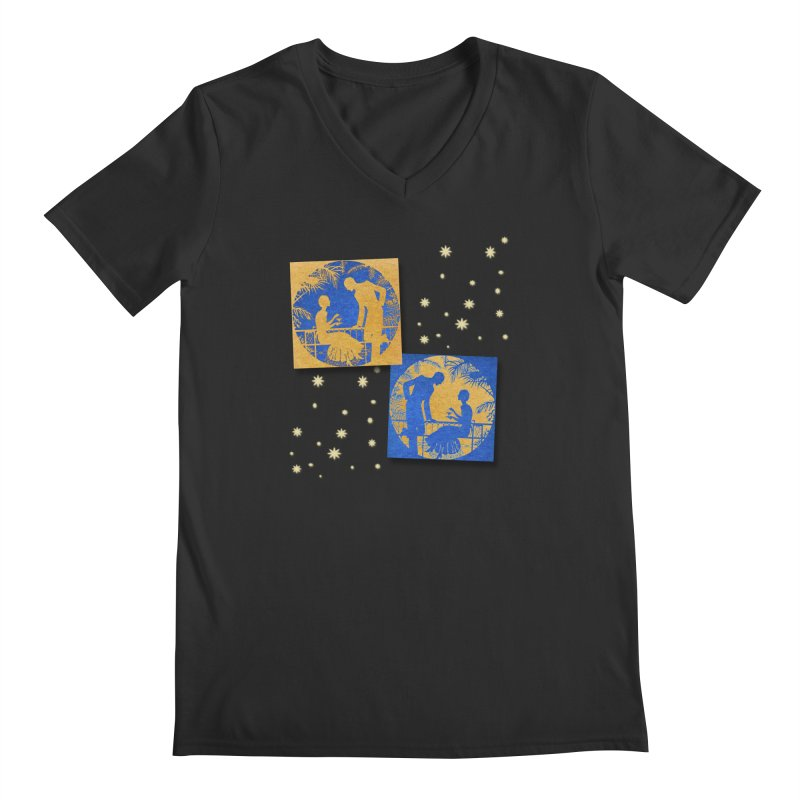 Shimmering Blue and Orange Pastel Silhouette Couple Under The Stars Men's Regular V-Neck by Maryheartworks's Artist Shop