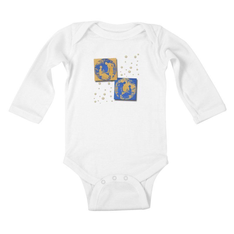 Shimmering Blue and Orange Pastel Silhouette Couple Under The Stars Kids Baby Longsleeve Bodysuit by Maryheartworks's Artist Shop