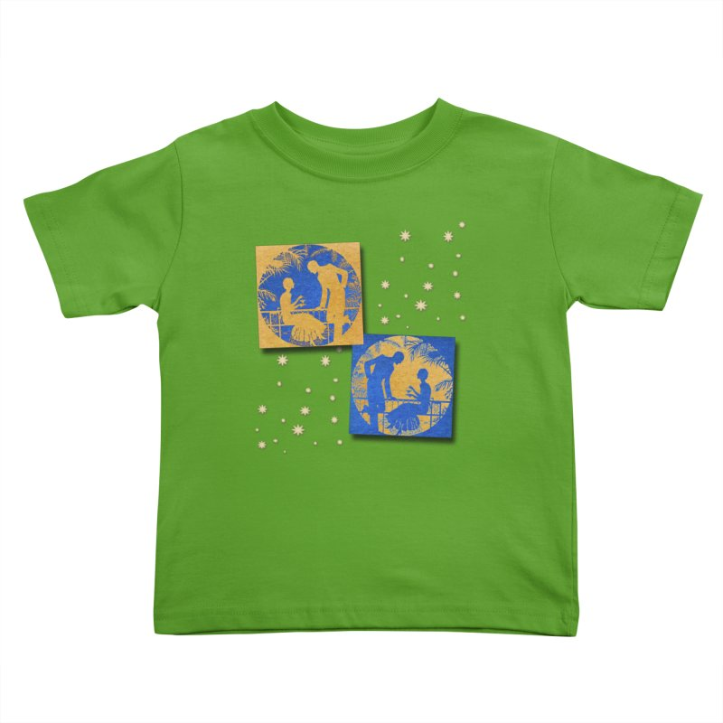 Shimmering Blue and Orange Pastel Silhouette Couple Under The Stars Kids Toddler T-Shirt by Maryheartworks's Artist Shop