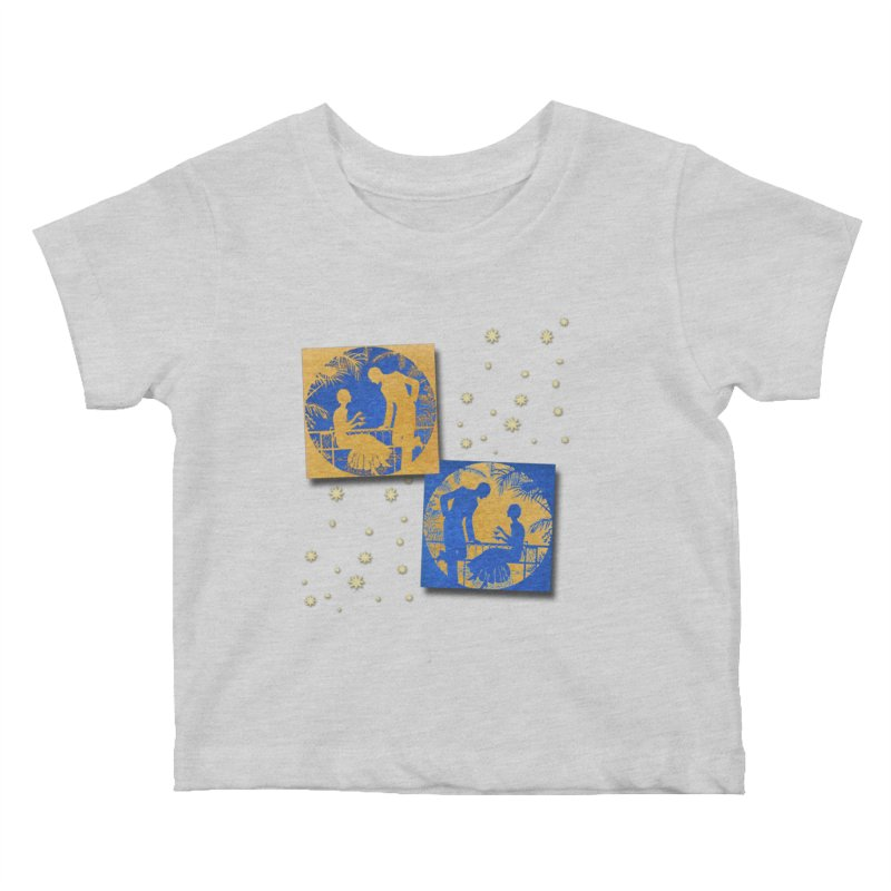 Shimmering Blue and Orange Pastel Silhouette Couple Under The Stars Kids Baby T-Shirt by Maryheartworks's Artist Shop