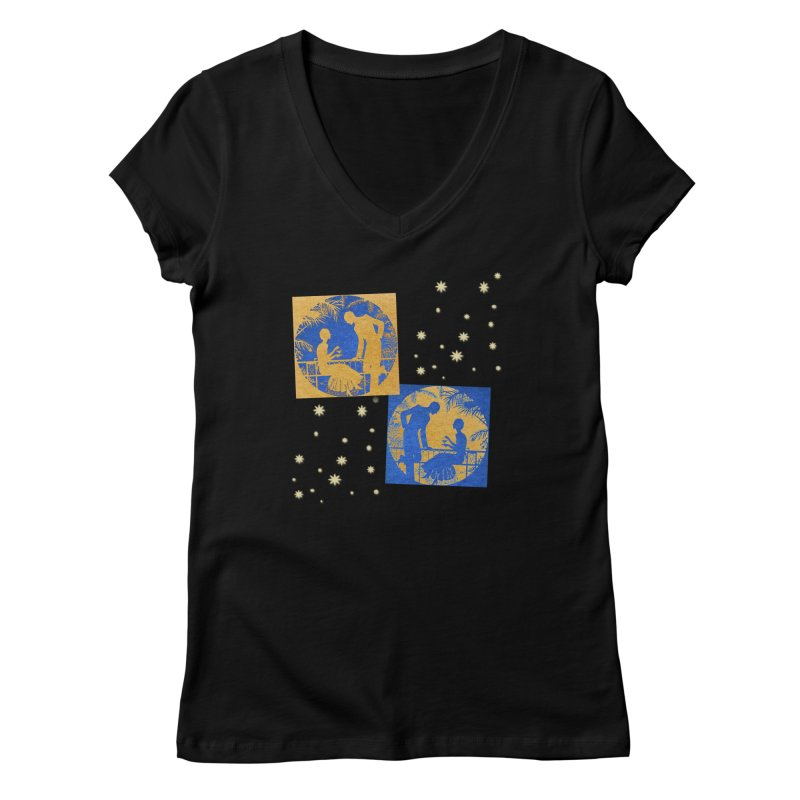 Shimmering Blue and Orange Pastel Silhouette Couple Under The Stars Women's V-Neck by Maryheartworks's Artist Shop