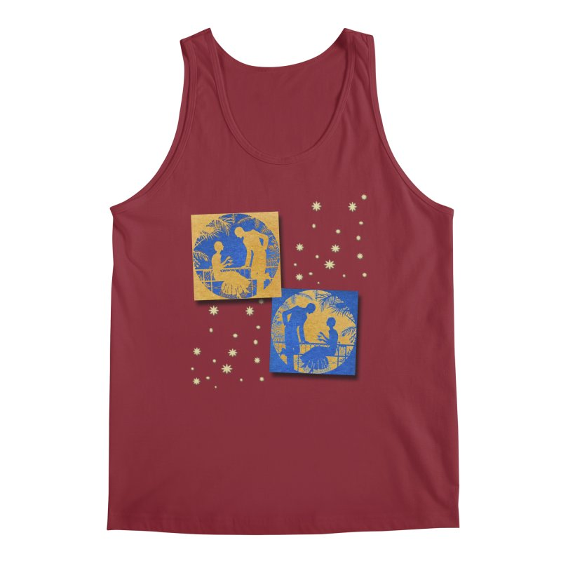 Shimmering Blue and Orange Pastel Silhouette Couple Under The Stars Men's Tank by Maryheartworks's Artist Shop