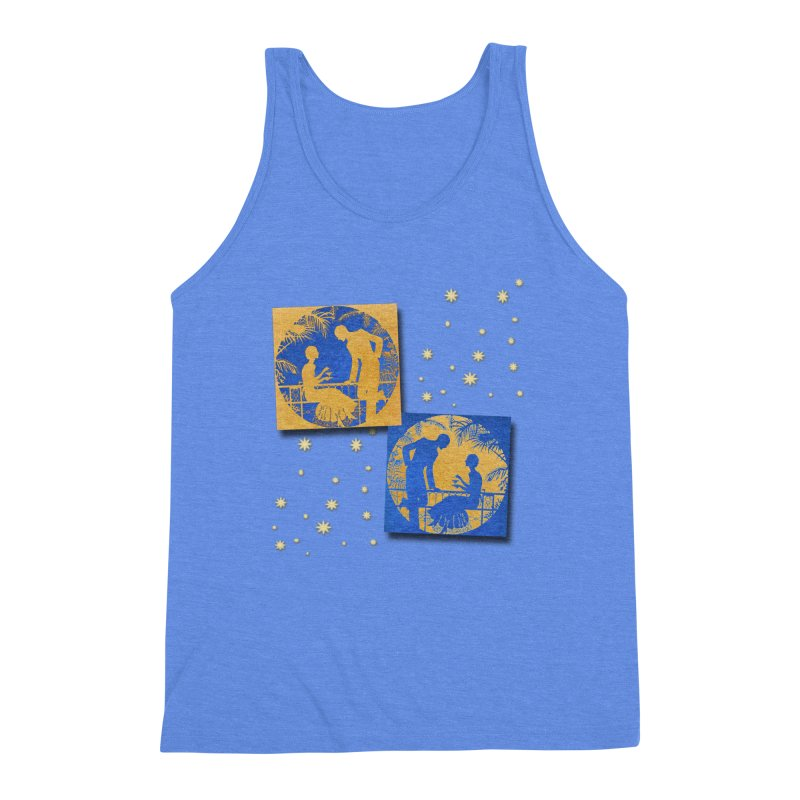 Shimmering Blue and Orange Pastel Silhouette Couple Under The Stars Men's Triblend Tank by Maryheartworks's Artist Shop