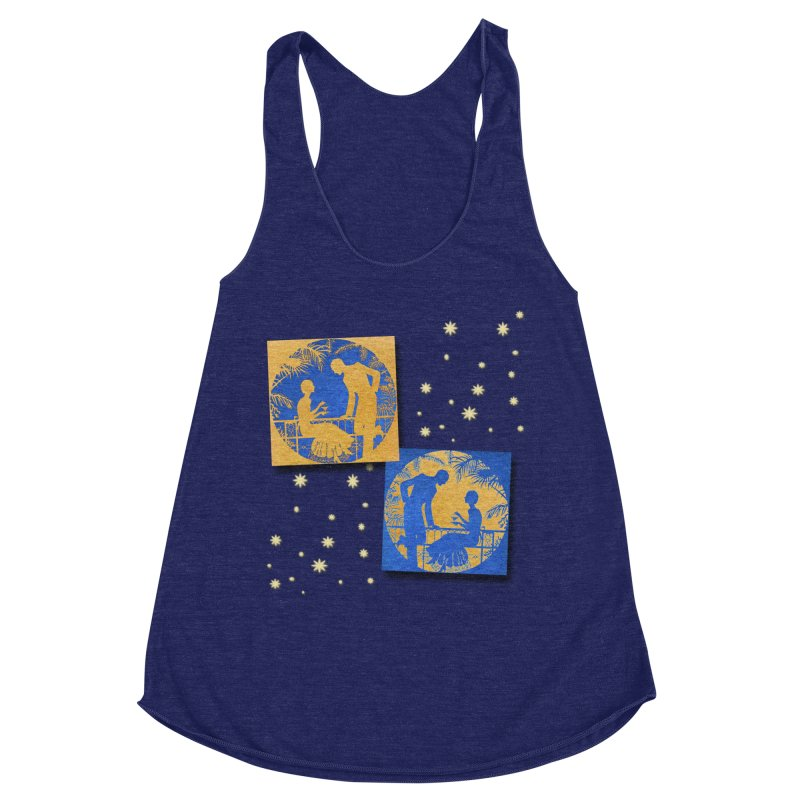 Shimmering Blue and Orange Pastel Silhouette Couple Under The Stars Women's Racerback Triblend Tank by Maryheartworks's Artist Shop