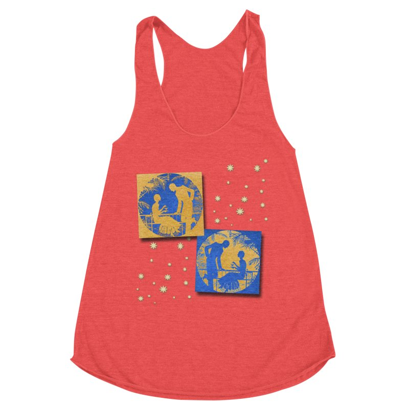 Shimmering Blue and Orange Pastel Silhouette Couple Under The Stars Women's Tank by Maryheartworks's Artist Shop