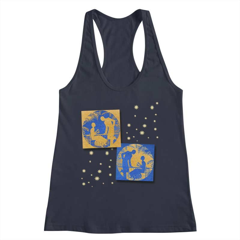 Shimmering Blue and Orange Pastel Silhouette Couple Under The Stars Women's Racerback Tank by Maryheartworks's Artist Shop