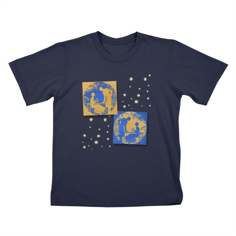 Shimmering Blue and Orange Pastel Silhouette Couple Under The Stars Kids T-Shirt by Maryheartworks's Artist Shop