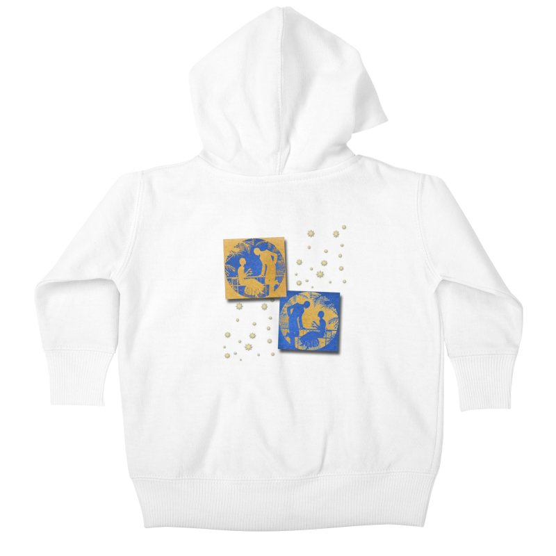 Shimmering Blue and Orange Pastel Silhouette Couple Under The Stars Kids Baby Zip-Up Hoody by Maryheartworks's Artist Shop