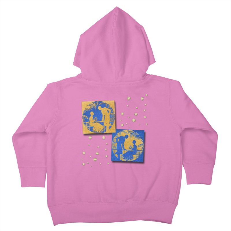 Shimmering Blue and Orange Pastel Silhouette Couple Under The Stars Kids Toddler Zip-Up Hoody by Maryheartworks's Artist Shop