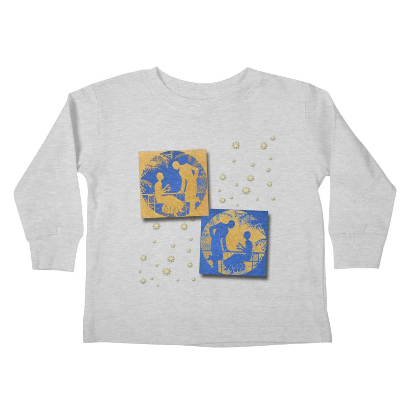 Shimmering Blue and Orange Pastel Silhouette Couple Under The Stars Kids Toddler Longsleeve T-Shirt by Maryheartworks's Artist Shop