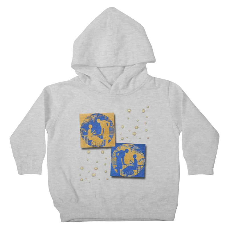 Shimmering Blue and Orange Pastel Silhouette Couple Under The Stars Kids Toddler Pullover Hoody by Maryheartworks's Artist Shop