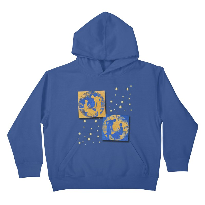 Shimmering Blue and Orange Pastel Silhouette Couple Under The Stars Kids Pullover Hoody by Maryheartworks's Artist Shop