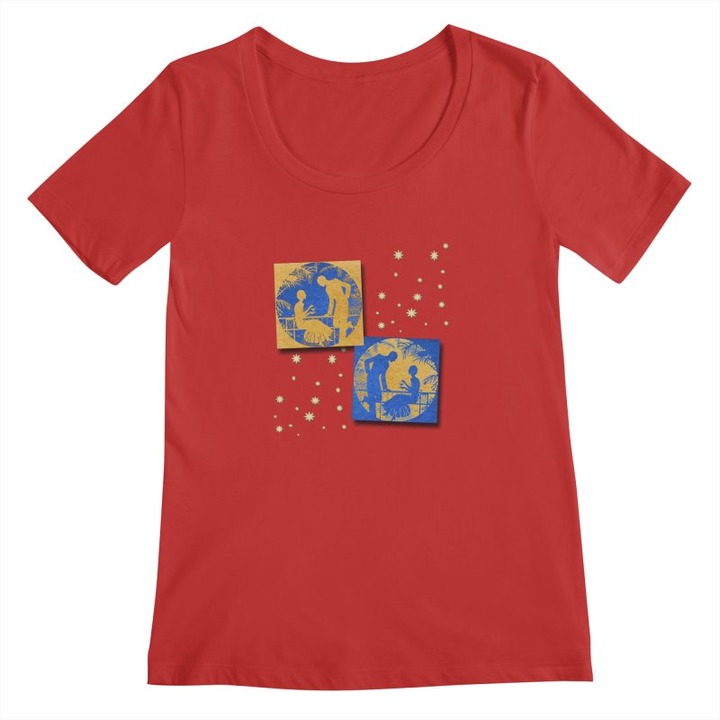 Shimmering Blue and Orange Pastel Silhouette Couple Under The Stars Women's Regular Scoop Neck by Maryheartworks's Artist Shop