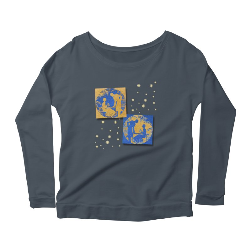 Shimmering Blue and Orange Pastel Silhouette Couple Under The Stars Women's Scoop Neck Longsleeve T-Shirt by Maryheartworks's Artist Shop