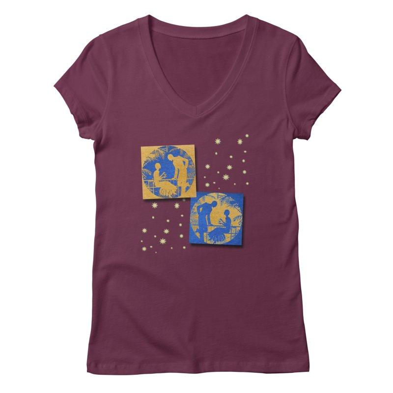 Shimmering Blue and Orange Pastel Silhouette Couple Under The Stars Women's Regular V-Neck by Maryheartworks's Artist Shop