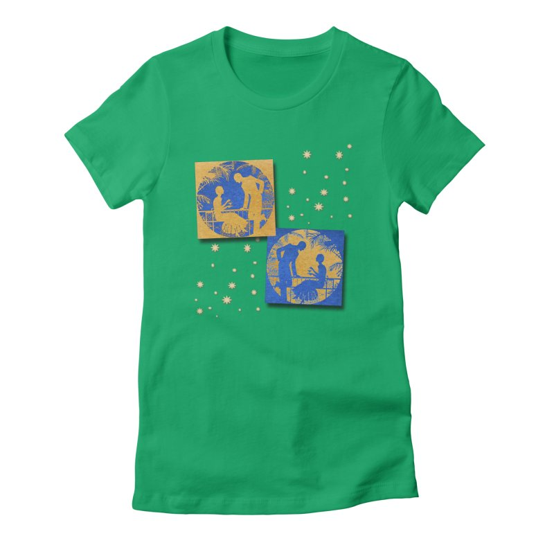 Shimmering Blue and Orange Pastel Silhouette Couple Under The Stars Women's Fitted T-Shirt by Maryheartworks's Artist Shop